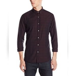 Theory dark red black pattern button front shirt L
